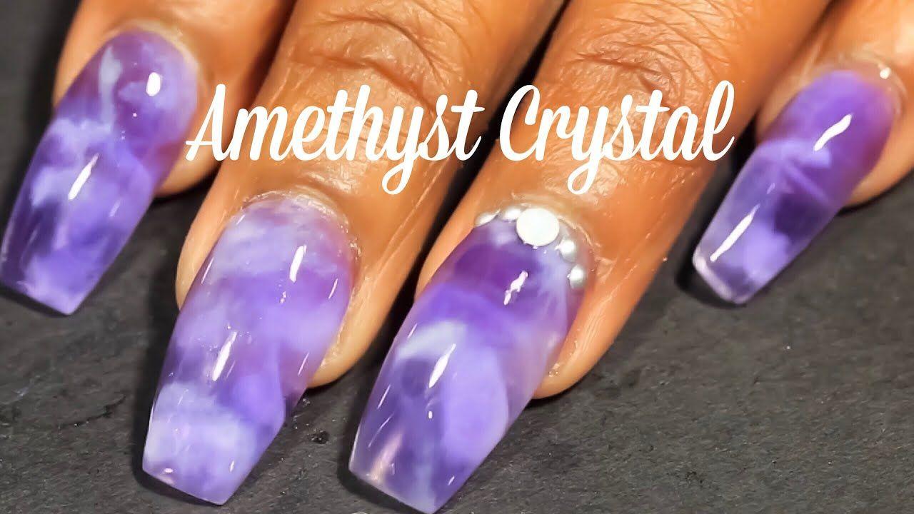 Diy Amethyst Crystal Marble Coffin Acrylic Nail Art Tutorial