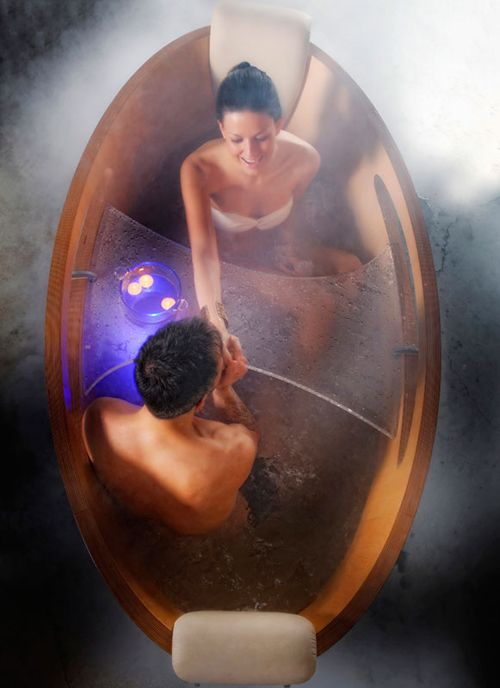 Here Are A Romantic Wooden Jacuzzi Bathtub By Tempoperdue. A Jacuzzi Bathtub  That Can Use For Two People. Part 59
