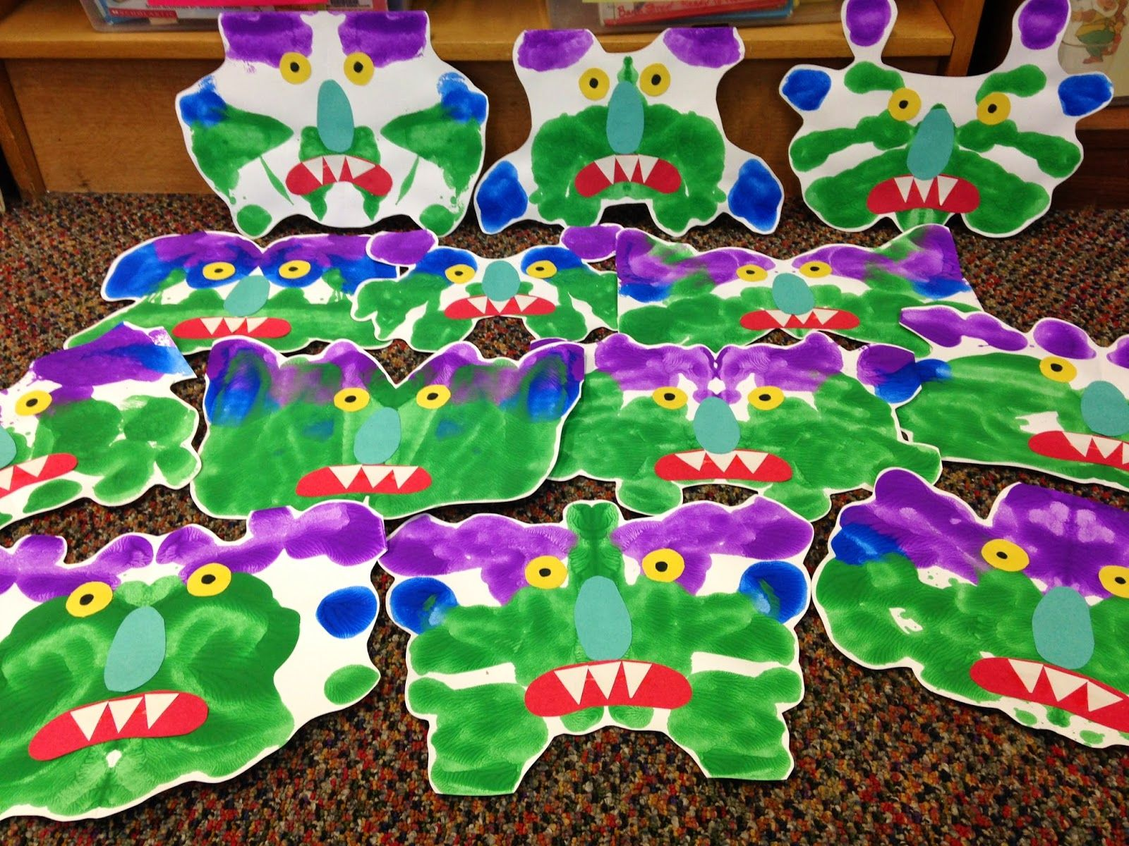 Halloween activity for K and maybe 1st! Monster shapes made from ...