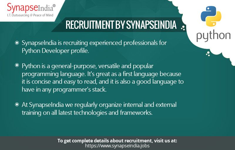 SynapseIndia recruitment department is hiring experienced professionals for Python Developer profile. The job location is Noida.  Read https://synapseindiarecruitments.wordpress.com/2017/06/06/synapseindia-recruitment-apply-now-to-be-a-part-of-trending-work-culture/