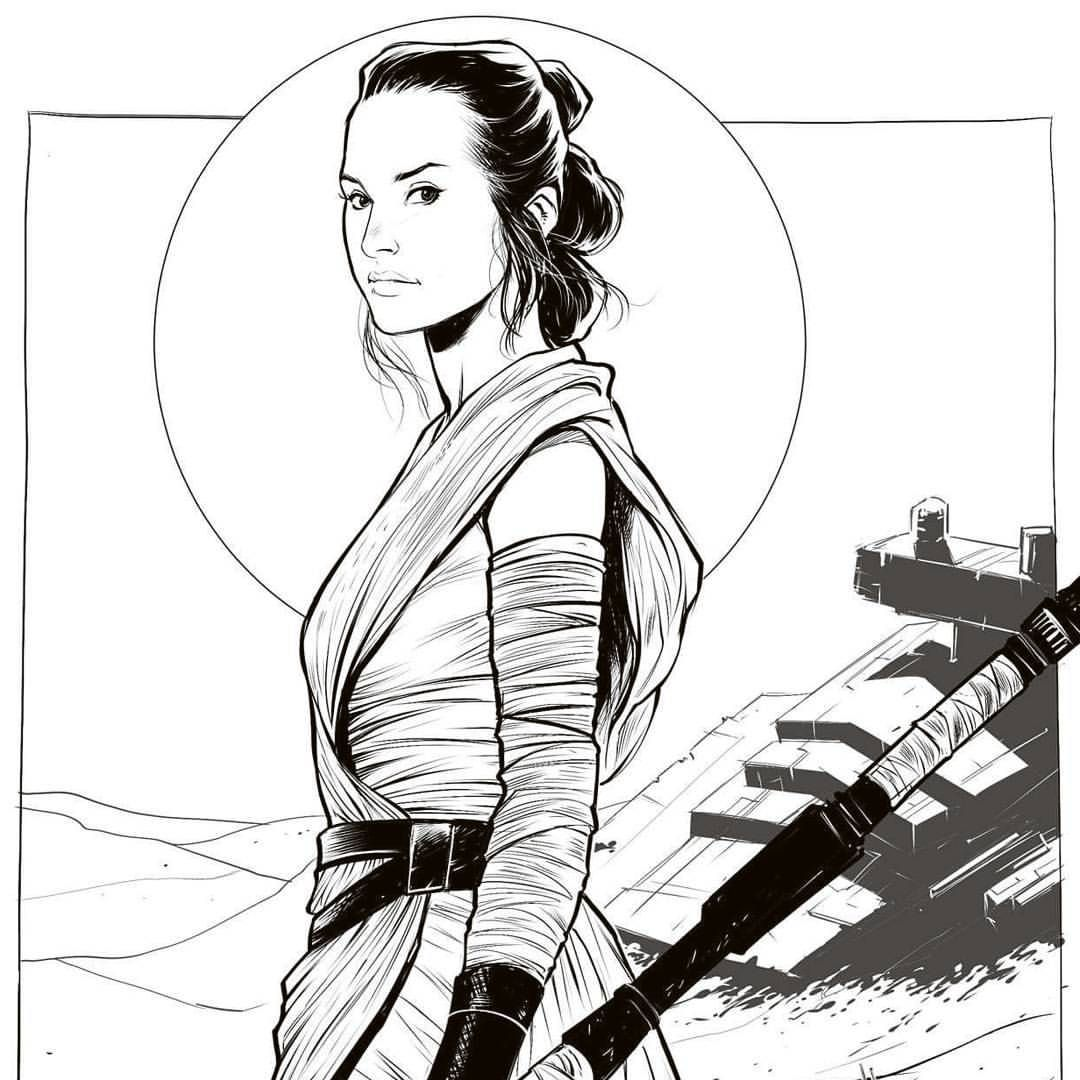 Lukaswerneck Shes Amazing Rey Starwars Starwarstheforceawakens Ink Draw