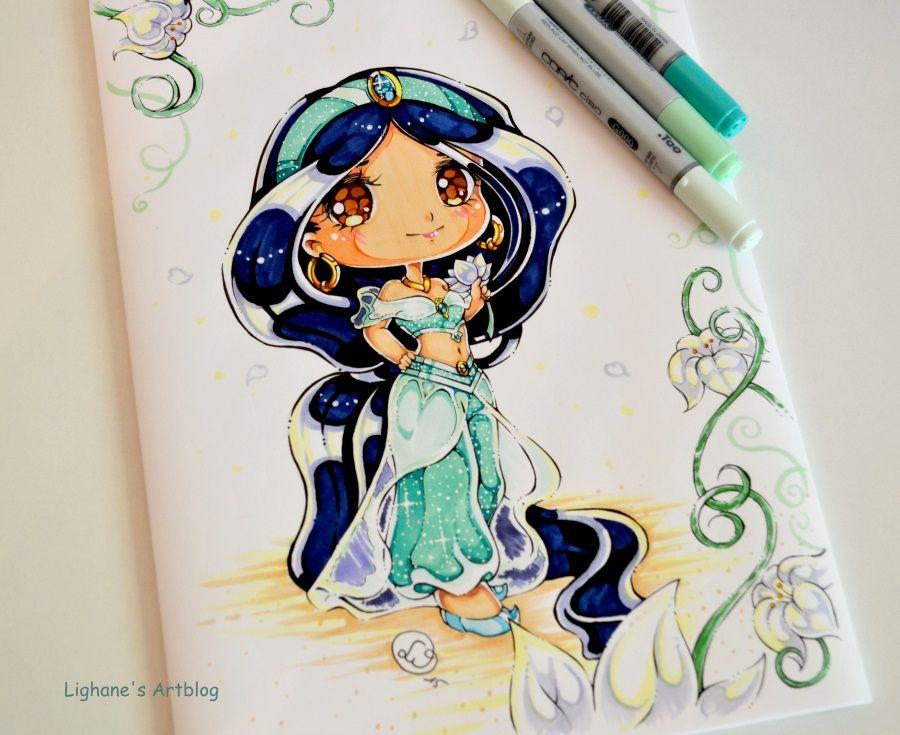 Princesse jasmin en chibi disney disney princess - Peinture princesse disney ...