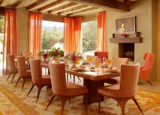 die farbe orange fr ihr esszimmer farbe orange durchsichtige gardinen perserteppich - Esszimmer Orange