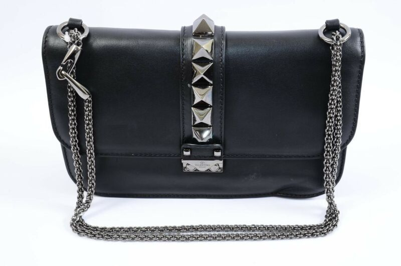 c025e9ddc46 Valentino Lock Noir Medium black leather studded shoulder handbag purse  $2445