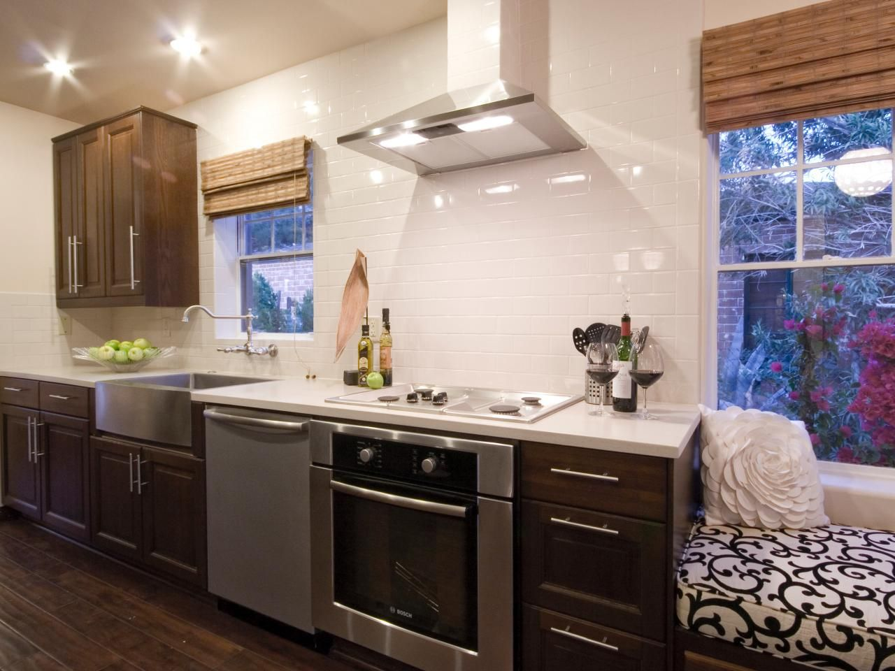 this kitchen features white quartz countertops a deep stainless steel farmhouse style sink with on farmhouse kitchen no upper cabinets id=96160
