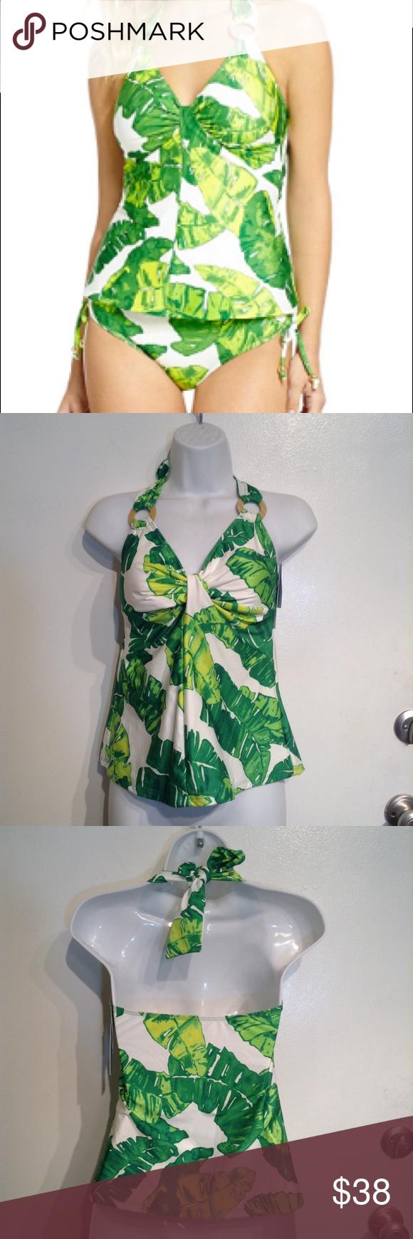 cc51abdd9a NWT Antonio Melani Tropical Leaf Print Tankini Antonio Melani tropical palm  leaf print green and white
