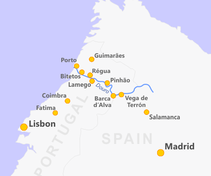 Map of the Douro River Adventures in Portugal Pinterest Rivers
