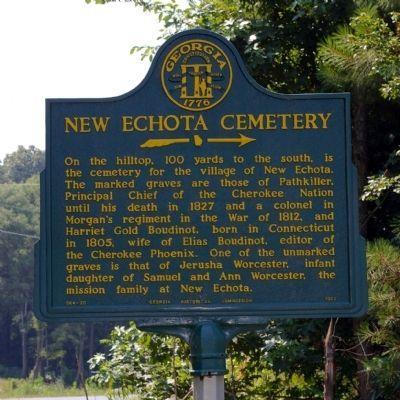Photo of New Echota Cemetery Historical Marker