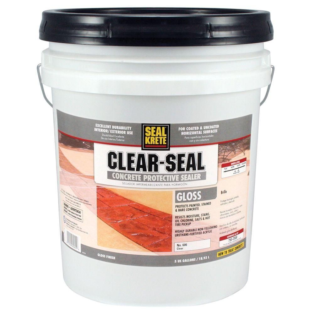 Seal Krete 5 Gal Gloss Clear Seal Concrete Protective Sealer 606005 The Home Depot In 2020 Concrete Sealer Clay Pavers