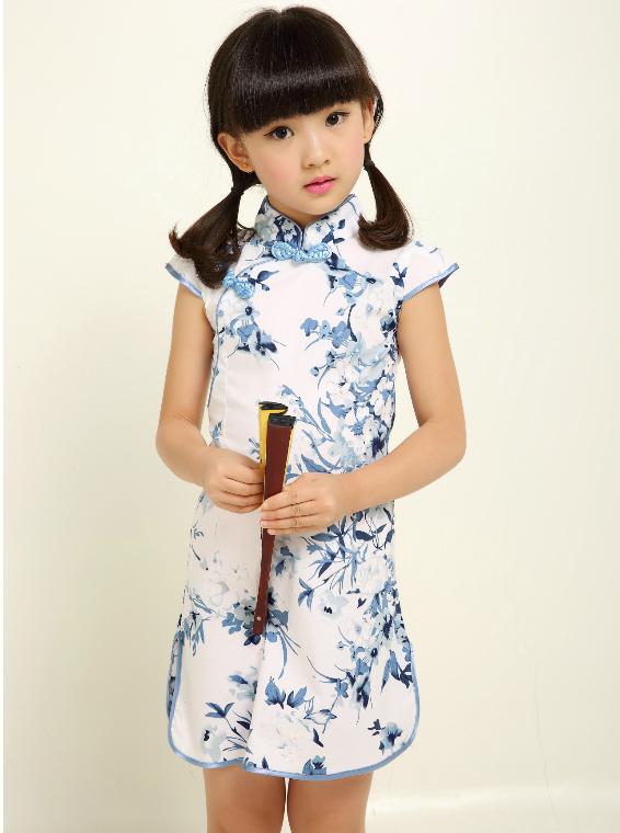 be4cd7c037b CS021 Girls Blue Floral Traditional Cheongsam Qipao