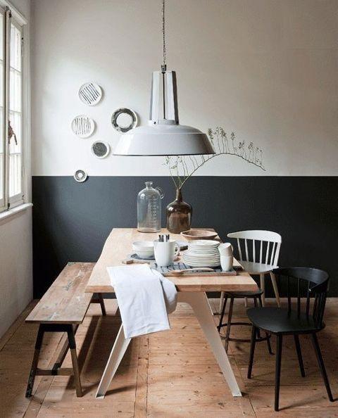 Le dernière tendance de décoration le mur peint à moitié Salons