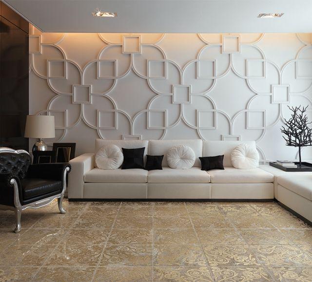 Weiß Sofa Set Wohnzimmer Wand Dekorative Platten Fliesen