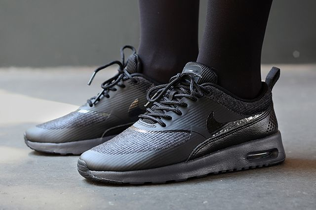 nike air max thea black print trainers edge