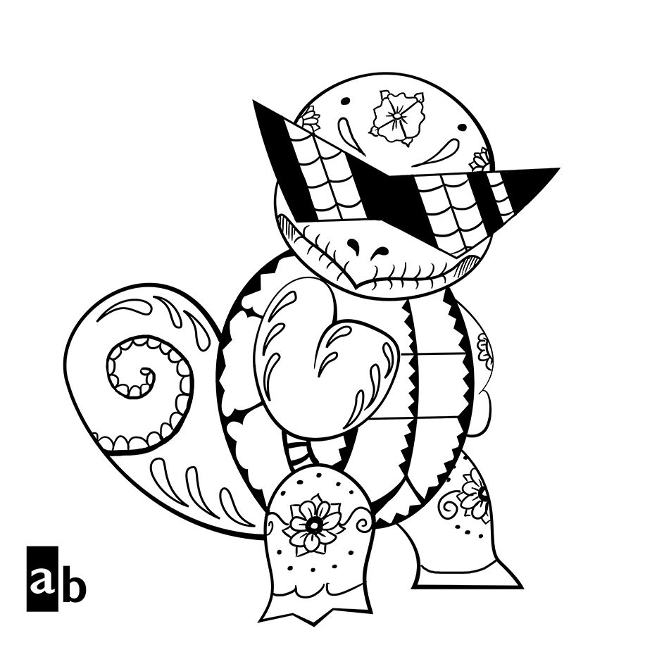 Squirtle Squad Coloring Pages Pokeman Pokemon Coloring