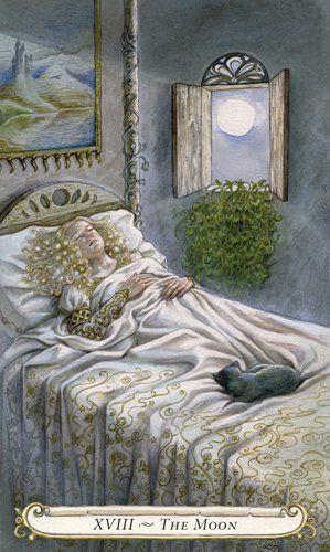 XVIII La Luna - El Tarot de los cuentos de hadas. Lisa Hunt.  #luna #barajas #carta #tarot #cuentos #hadas