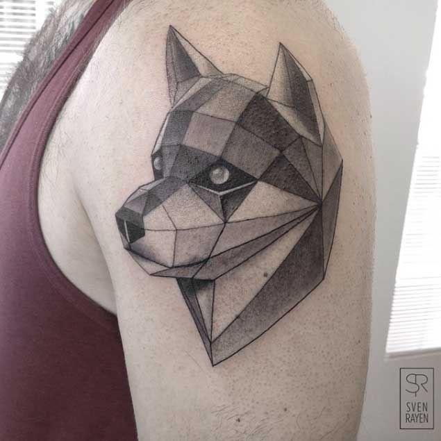 Geometric Dog Tattoo Arme