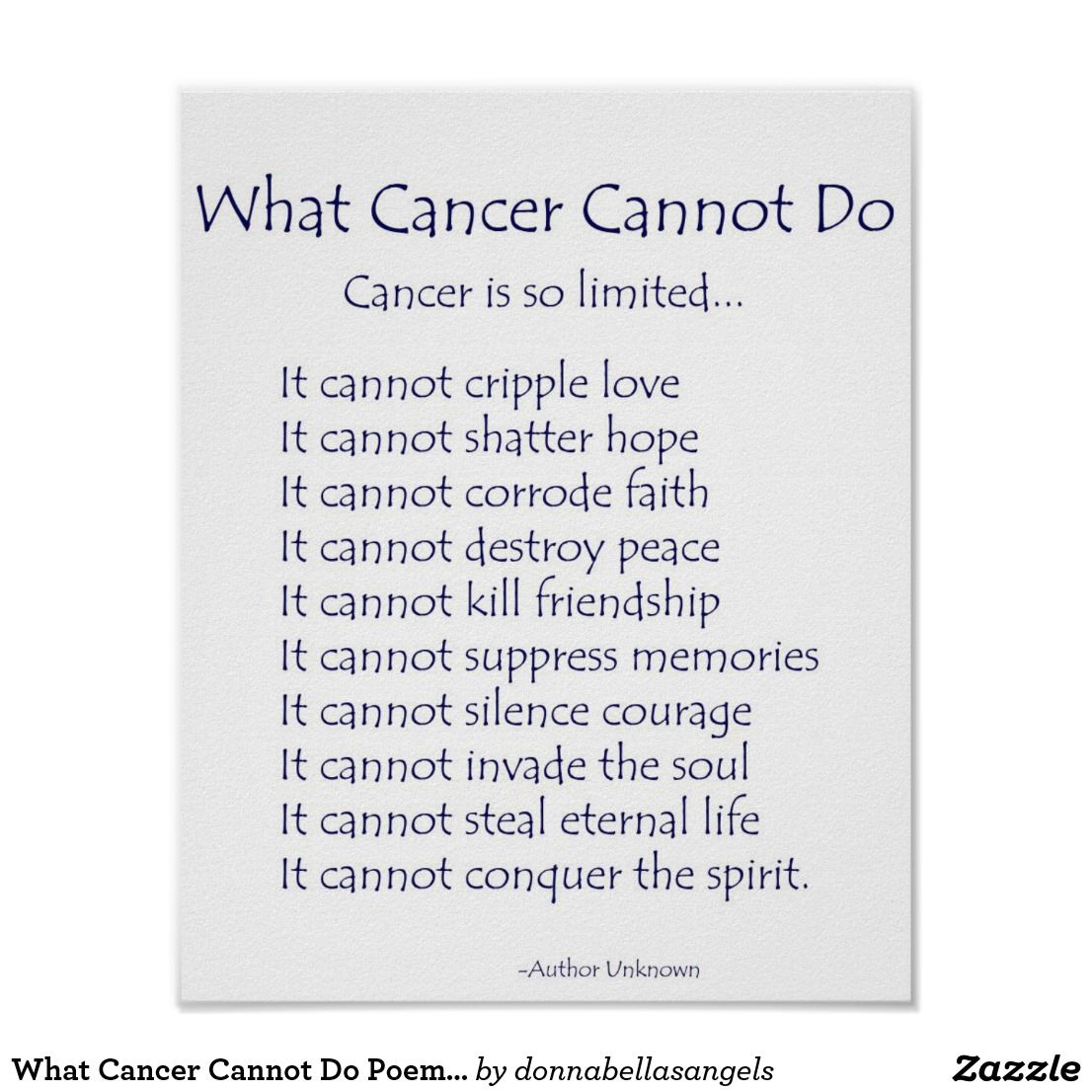 What Cancer Cannot Do Poem Poster Print Zazzlecom Colon Cancer