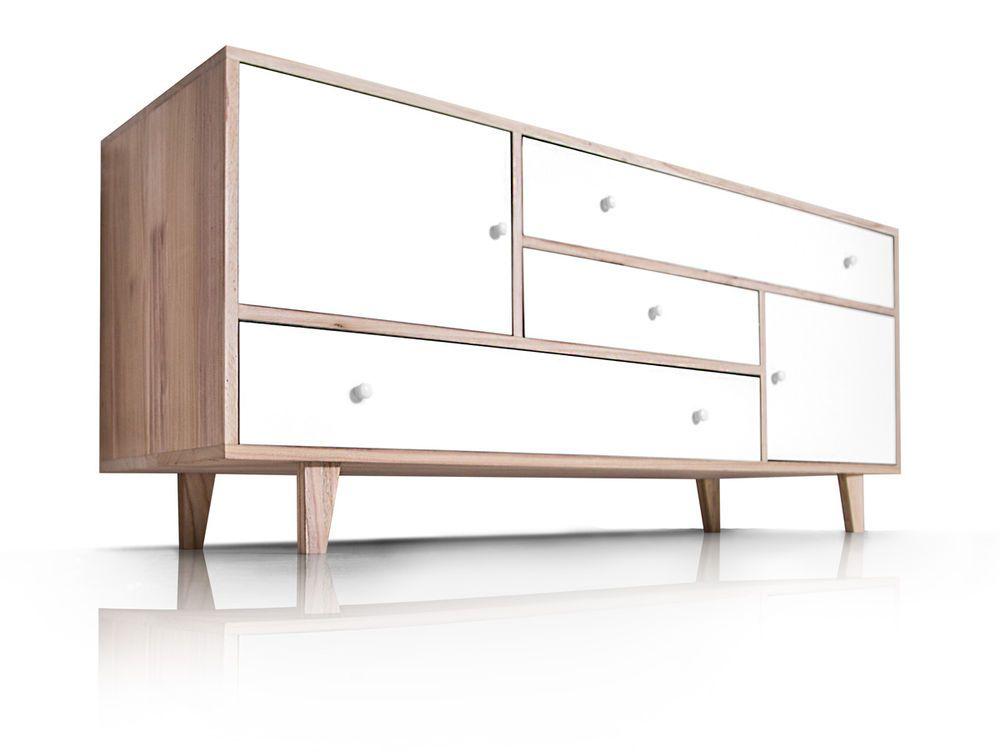 FLORENZ VII Sideboard Kommode Retro Schrank Regal MDF Holz Weiß 3 - schlafzimmerschrank weis