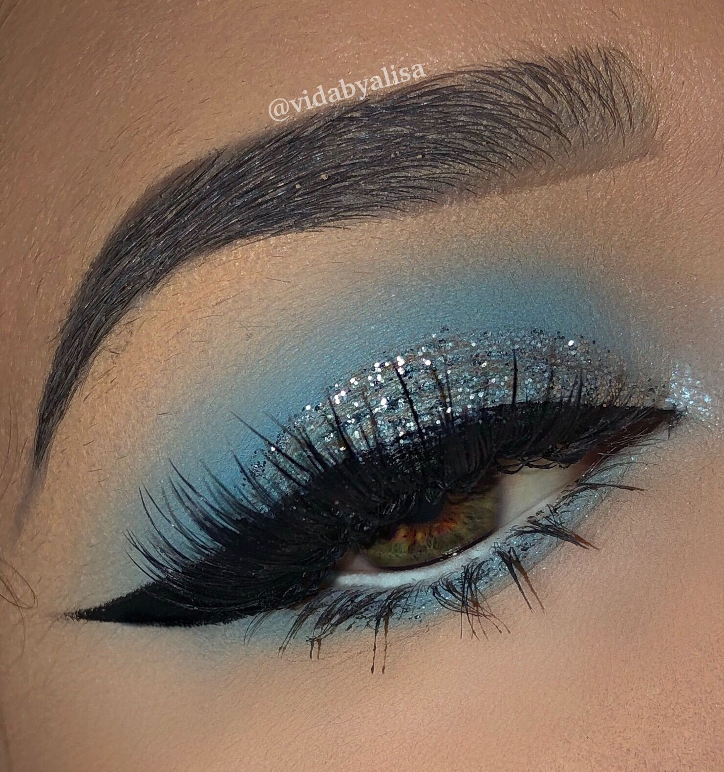 Used colour pop Blue Moon palette Prom eye makeup