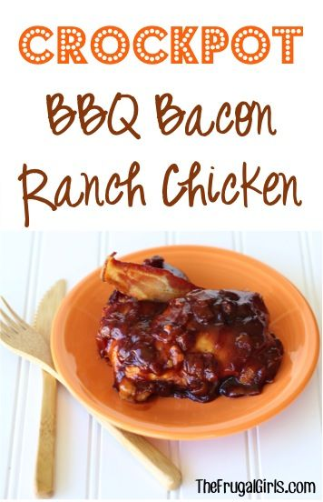 Crockpot BBQ Bacon Ranch Chicken Recipe!  This easy Slow Cooker barbecue dinner is packed with flavor and a family favorite!  Add it to your menu this week and you'll see why!