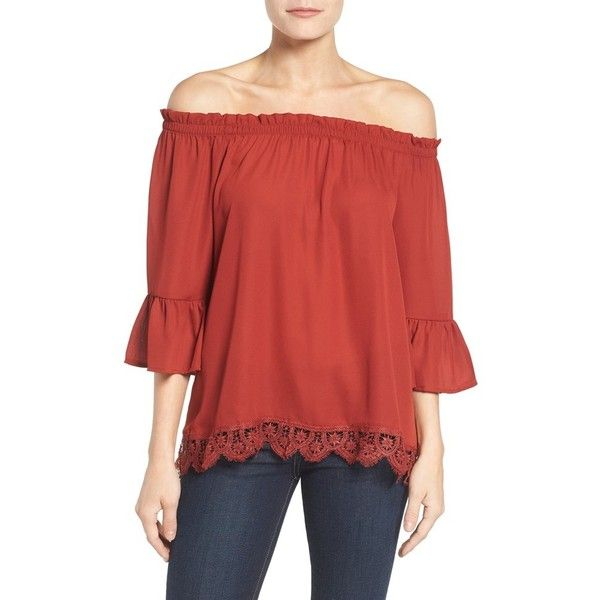 Women's Bobeau Off The Shoulder Lace Hem Top (750 MXN) ❤ liked on Polyvore featuring tops, blouses, new rust, off shoulder lace top, off the shoulder blouse, bobeau tops, lacy blouses and red off shoulder top
