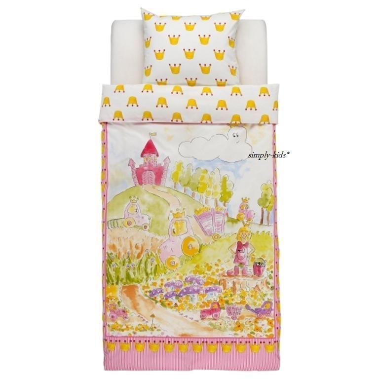 Ikea Kids Duvet Quilt Cover Girls Naturkar Pink Castle Princess