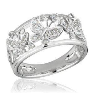 white gold and diamond butterfly ring engagement - Butterfly Wedding Rings