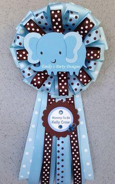 Corsage Baby Elefante Azul Para Futura Mama Baby Shower Corsage