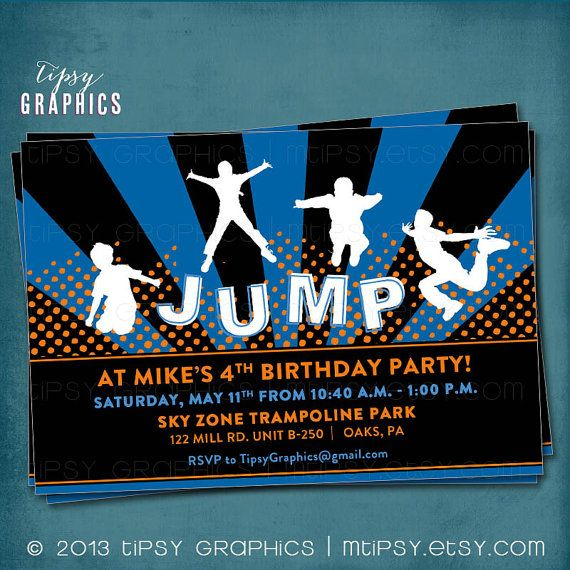 Jump Trampoline Or Bounce House Birthday Party Invite For