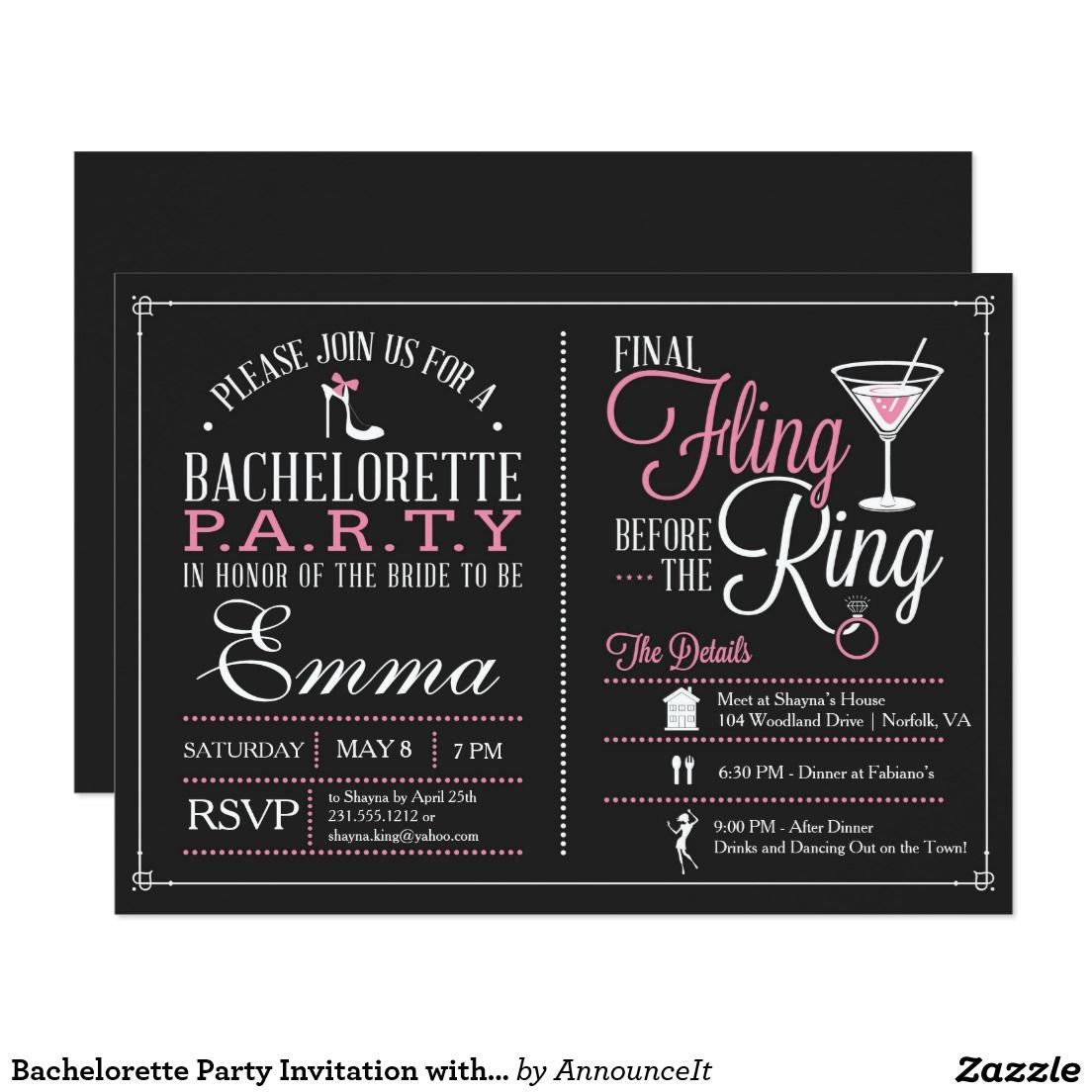 Bachelorette Party Invitation With Itinerary Bachelorette Party