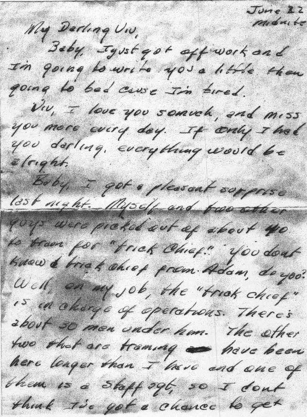 During his time in the Air Force, Cash wrote all of his letters to Vivian in green ink.