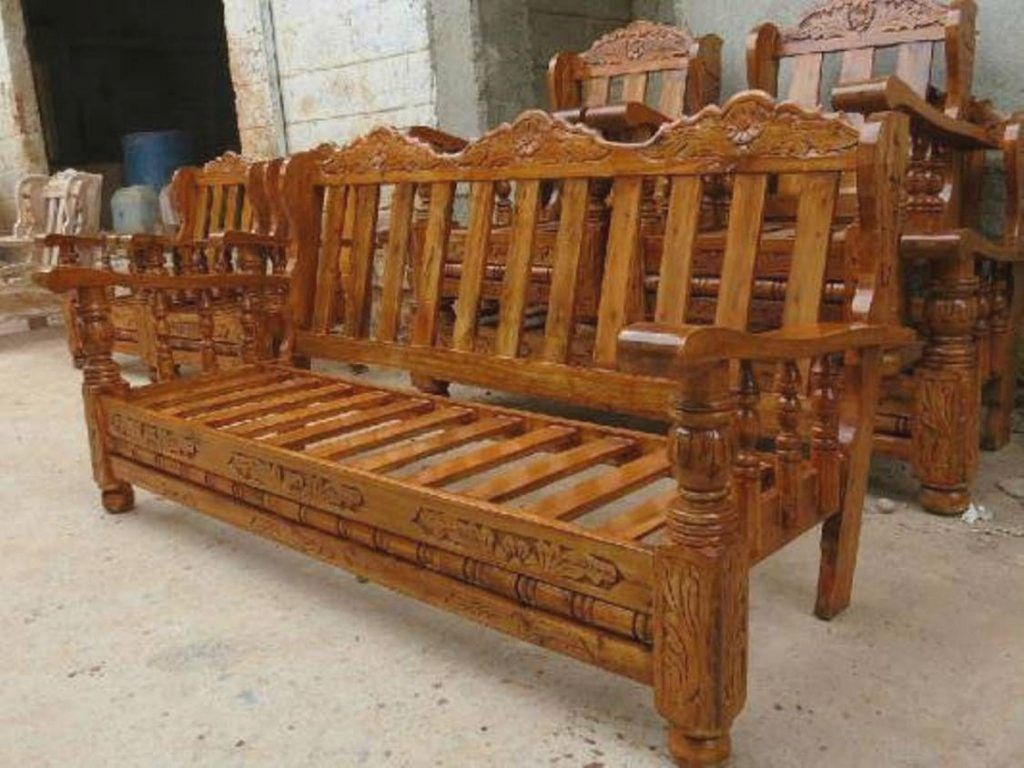 Furniture Wood Sofa Set In 2020 Wooden Sofa Set Designs Sofa Design Wood Wooden Sofa Designs