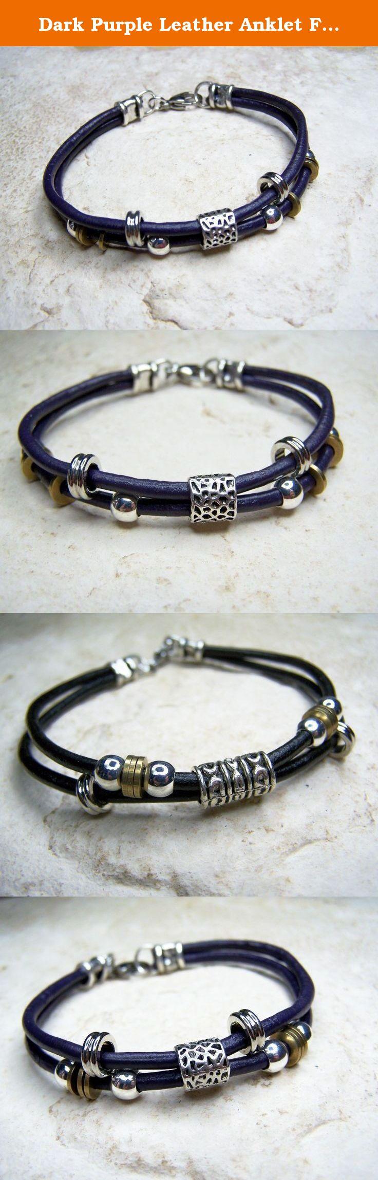 Dark purple leather anklet for women handmade ankle bracelet