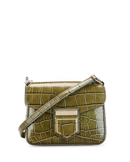GIVENCHY NOBILE MINI CROCODILE-EMBOSSED SHOULDER BAG.  givenchy  bags  shoulder  bags  leather   81beeb029bd1a
