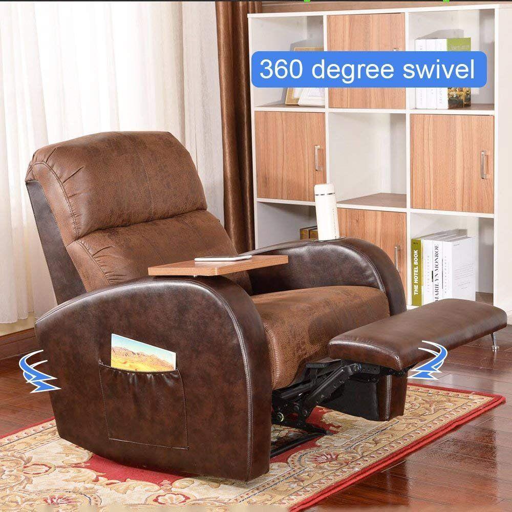 Sogeshome Lounge Sofa Living Room Brown Chair Home Theater Chair Luxurious 360 Degree Swivel Rocking Manual Recline Living Room Chairs Recliner Chair Sofa Home