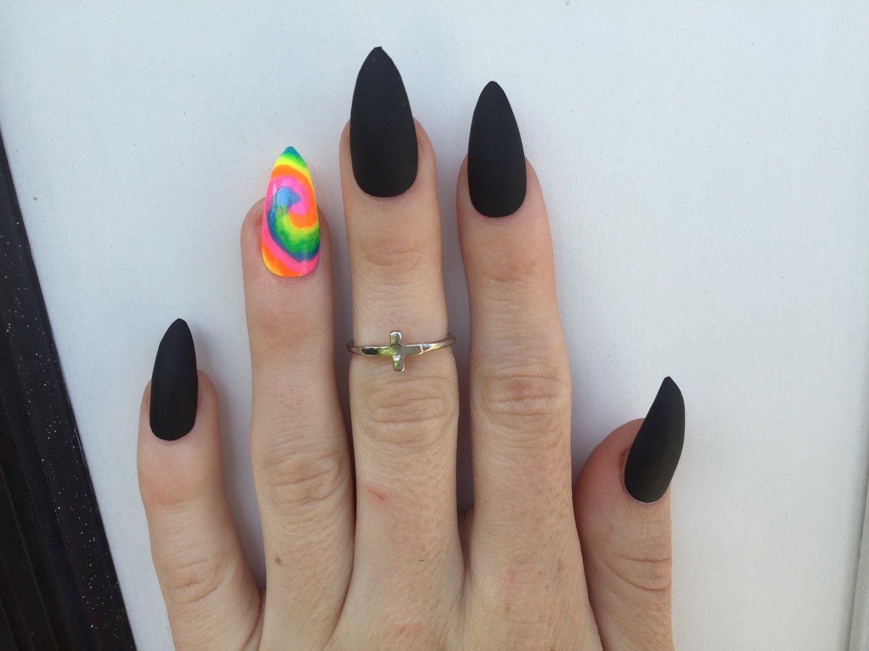 24 TieDye Blacklight and Matte Black Stiletto nails, Neon Festival ...