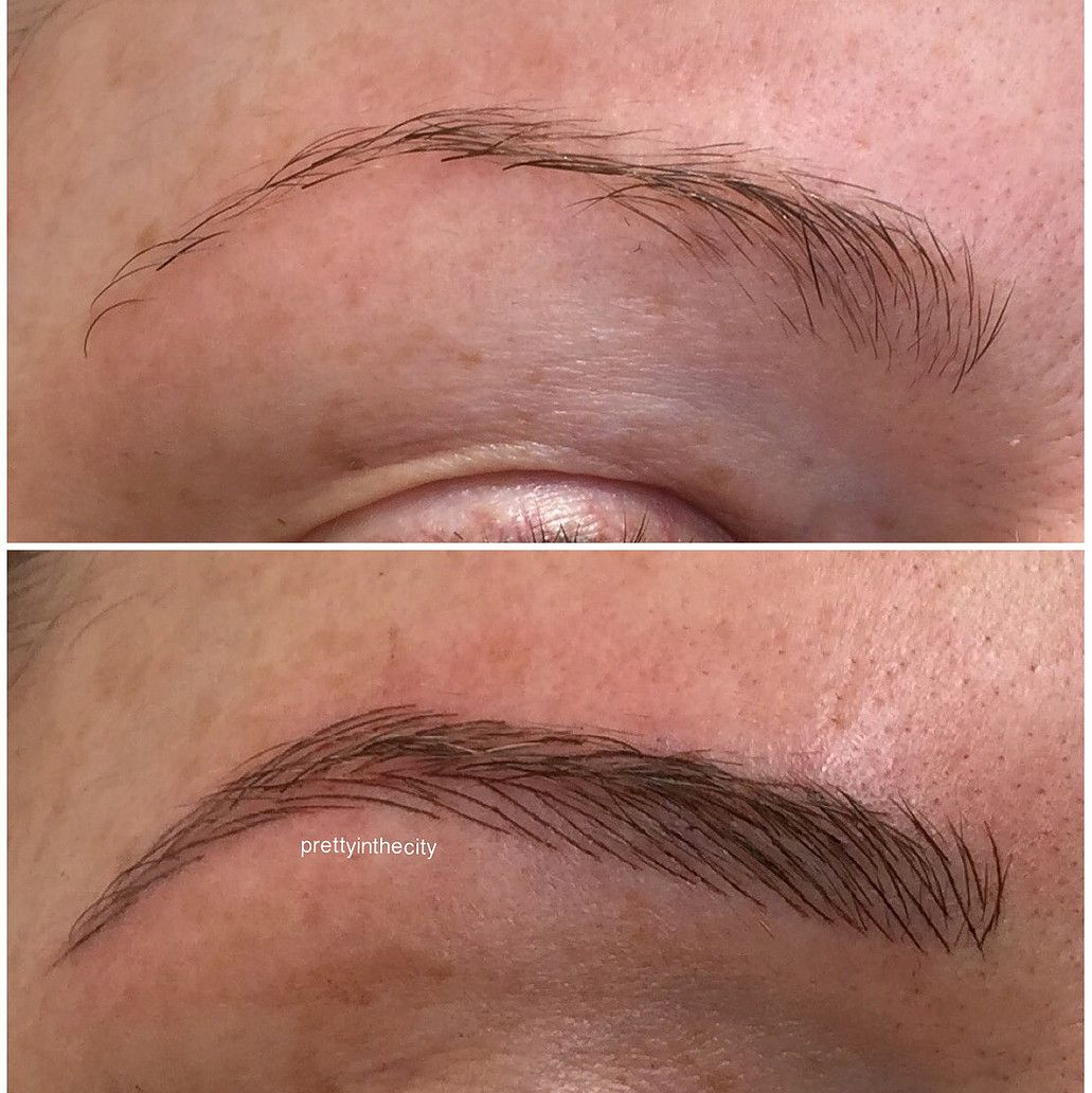Cosmetic eyebrow tattoo using microblading and powder