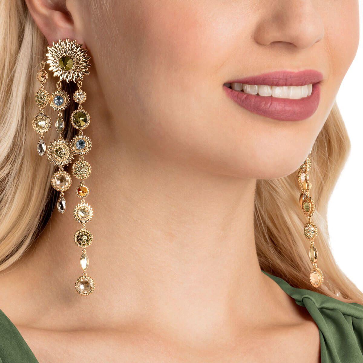 Elegant transparent strass tournesol Ear Stud Boucle d/'oreille Fashion Oreille Bijoux