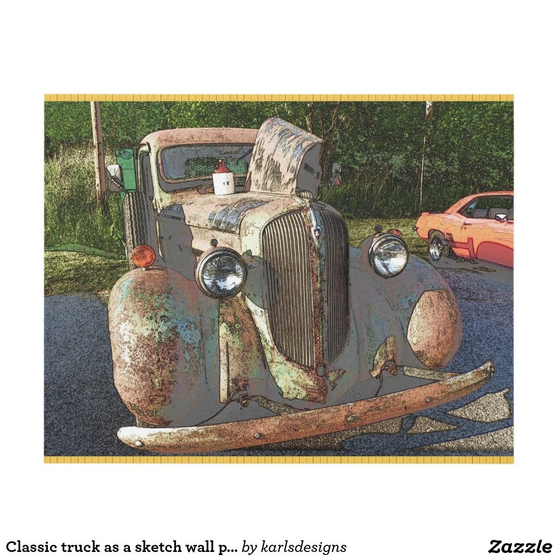 Classic truck as a sketch wall panel | Zazzle.com