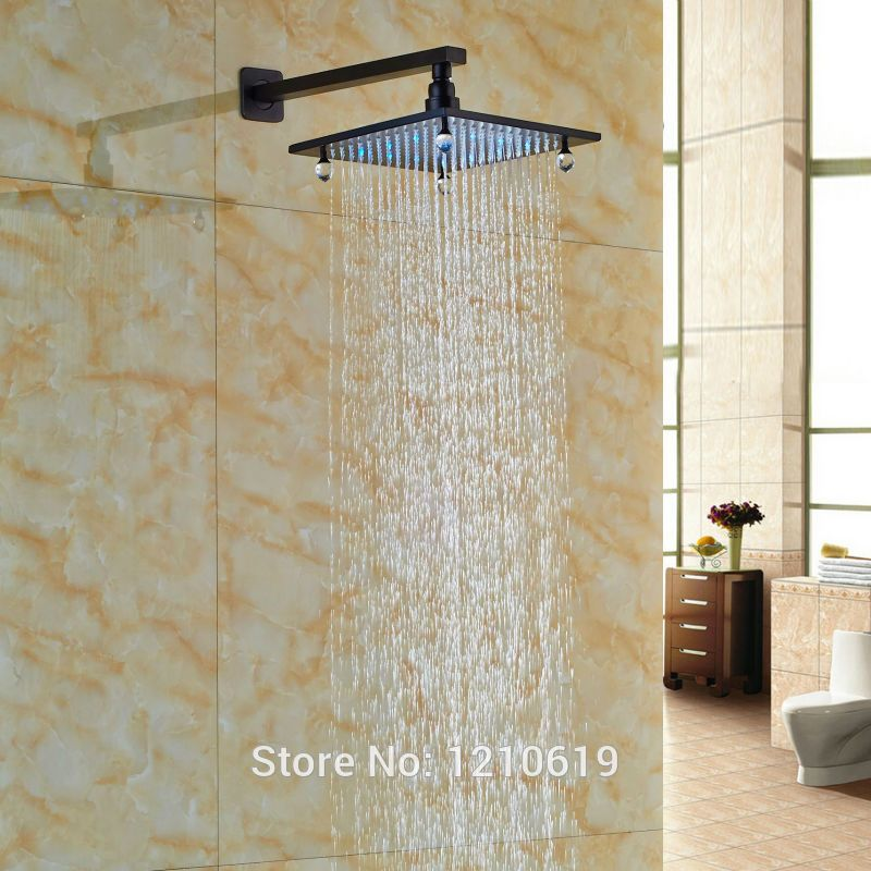 Newly Luxury Crystal Shower Head W Arm LED Color Changing 8 Inch Top Sprayer Oil Rubbed Bronze Affiliate