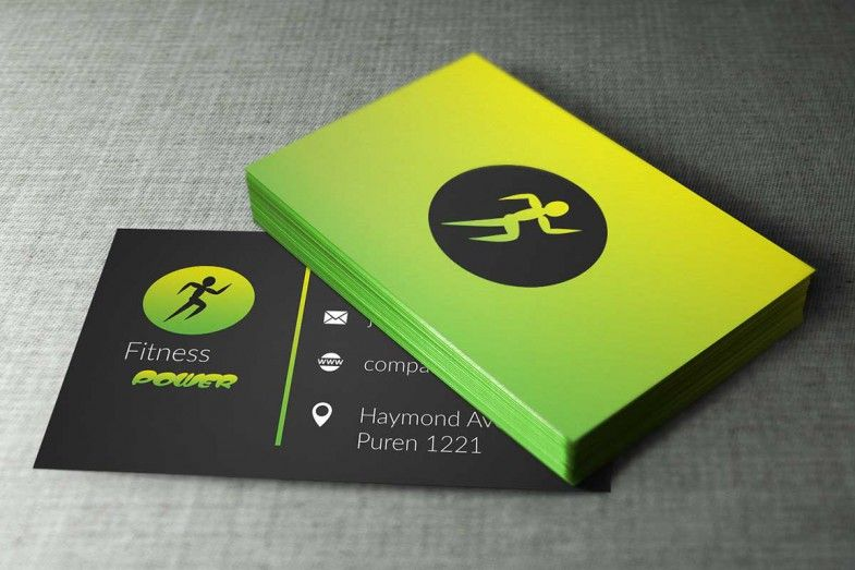 Modern fitness business cards design, available for free
