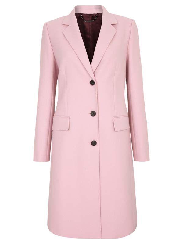 6 Pink Button Down Coat Fashion Coat Winter Coat Pink