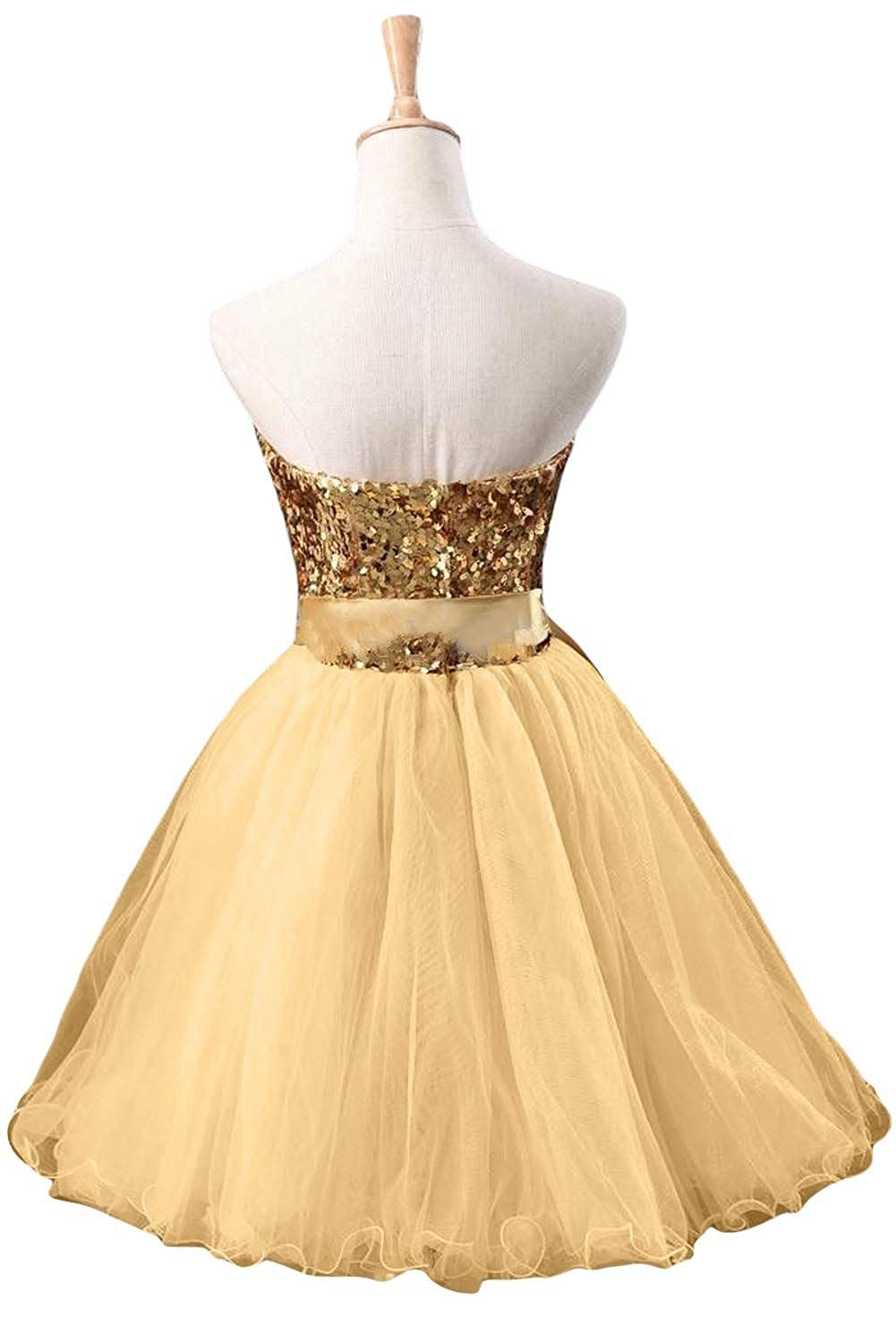 Sunvary Gold Sequin and Tulle Cocktail Prom Dresses Girls Bridesmaid