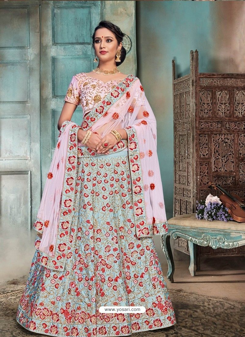 ee0aff7e9 Sky Blue And Pink Nylon Satin Embroidered Designer Lehenga Choli