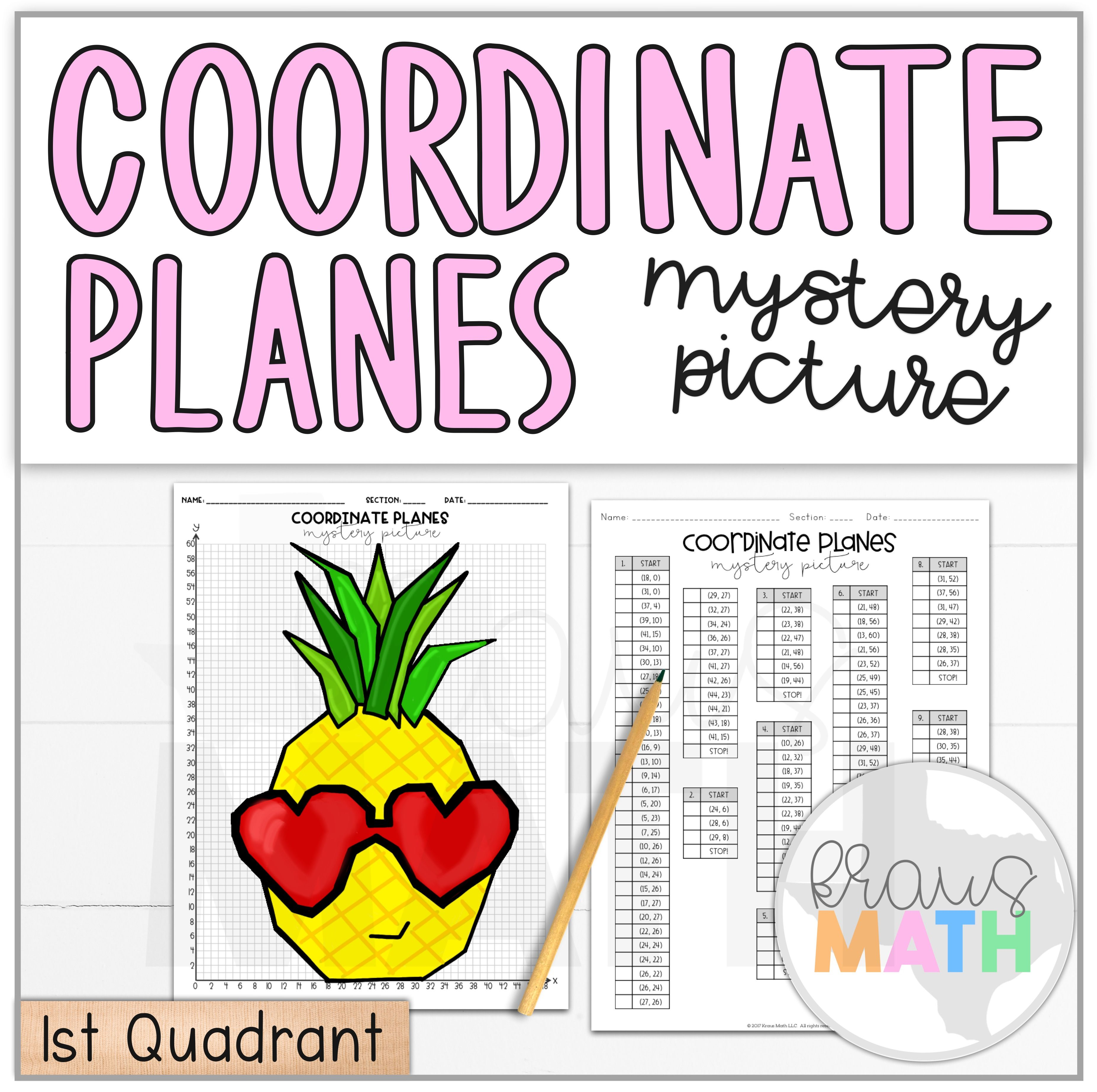 Pineapple In Heart Sunglasses Coordinate Plane Mystery