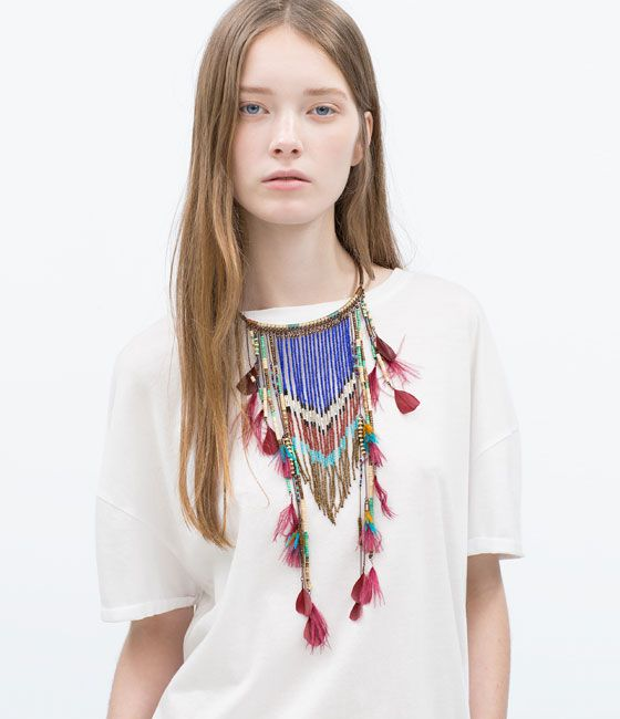 Image 1 of LONG ETHNIC FEATHER NECKLACE from Zara