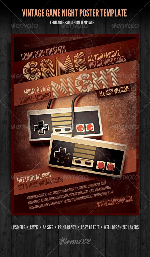 Vintage Game Night Poster Template Template, Vector shapes and - retro flyer templates