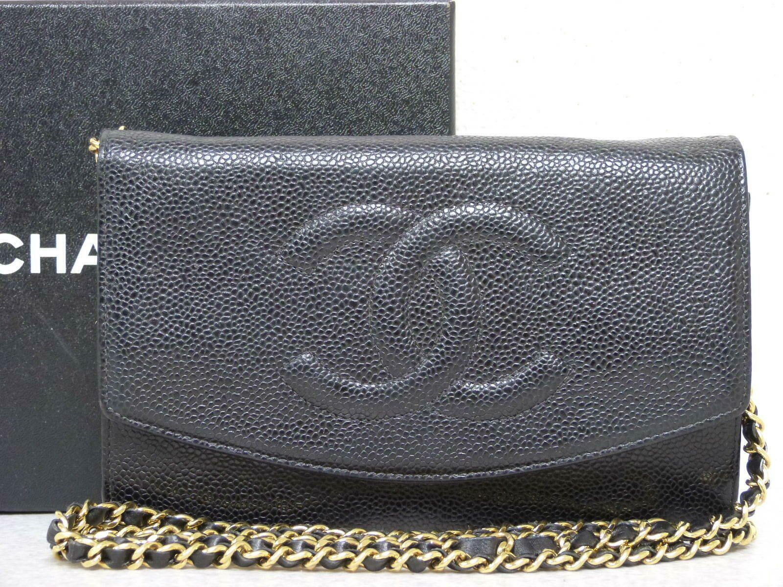 daff18e5af89  FORSALE ra5614 Auth CHANEL Black Caviar Skin CC WOC Wallet On Chain  Shoulder Bag -