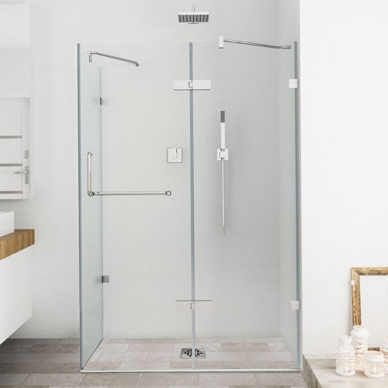 Vigo Vg6011bncl48 Clear Brushed Nickel Monteray 73 3 8 High X 48 Wide X 30 1 4 Deep Hinged Frameless Shower Enclosure With 3 8 Glass Faucetdirect Com In 2020 Shower Enclosure Frameless Shower Enclosures Shower Doors
