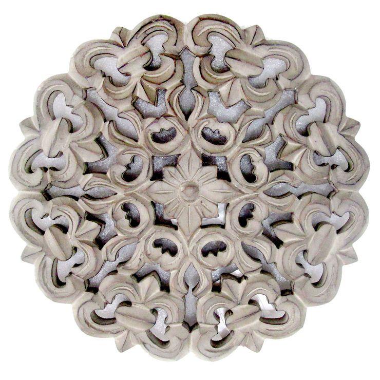 Best Awpb 12X12 Grey Carved Wd Rnd Boho Decor Home Living 400 x 300